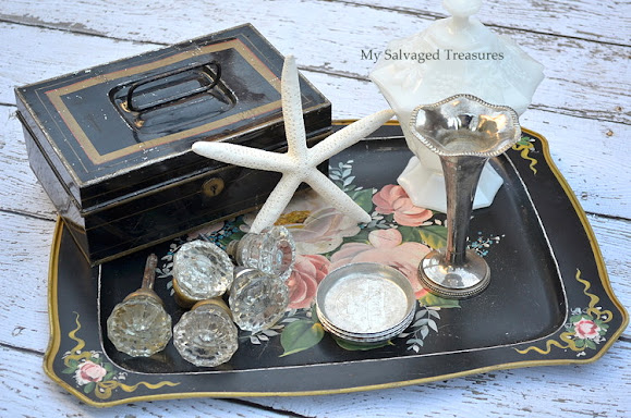vintage door knobs and metal box