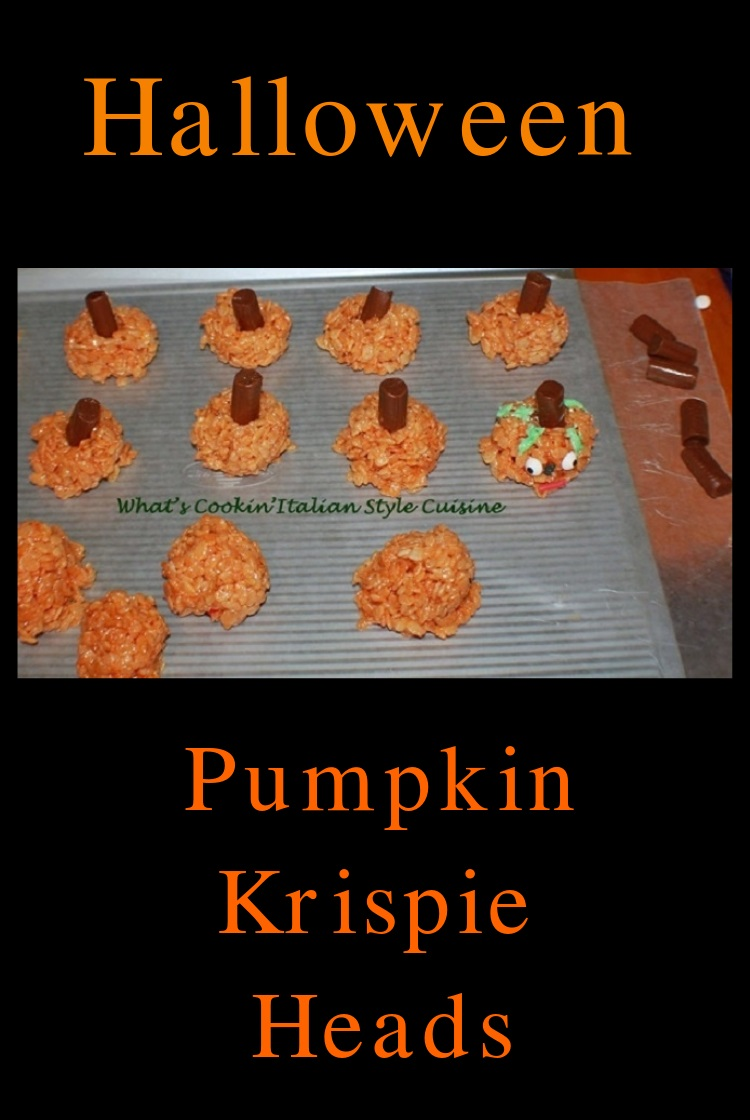 these are a rice krispie tinted with orange food coloring made into rice krispie treat pumpkin heads