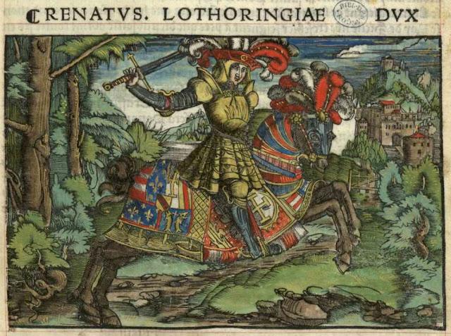 """""""Le duc René II entouré de ses troupes""""  Miniature du manuscrit """"La Nancéide"""" de Pierre de Blarru. 1518.  (Bibliothèque municipale de Besançon)"""