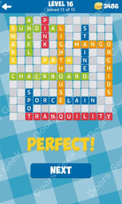 Cheats, Solutions for Level 16 in 13 Word Connect by Second Gear Games
