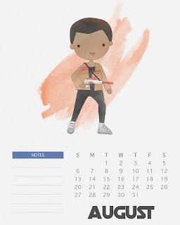 Calendario 2017 de  Star Wars para Imprimir Gratis  Agosto.