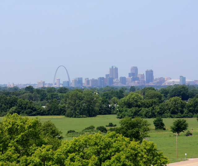 St. Louis skyline from atop  Monk's  Mound at Cahokia in Illinois