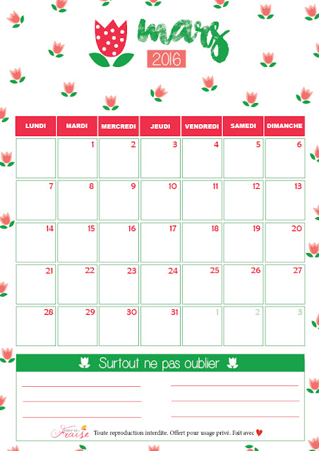 calendrier diy mars 2016 free printable