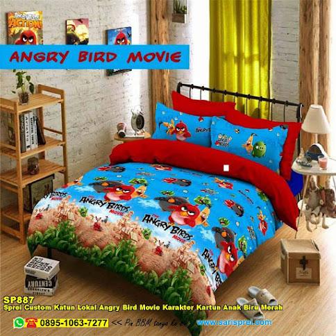 Sprei Custom Katun Lokal Angry Bird Movie Karakter Kartun Anak Biru Merah