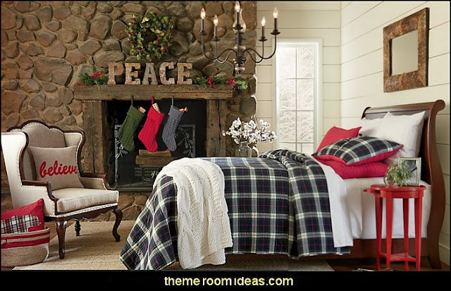 rustic decorating christmas theme bedrooms Rustic Christmas decorating ideas - rustic Christmas decorations - Vintage - Rustic - Country style Christmas decorating - rustic Christmas decor - Christmas stockings
