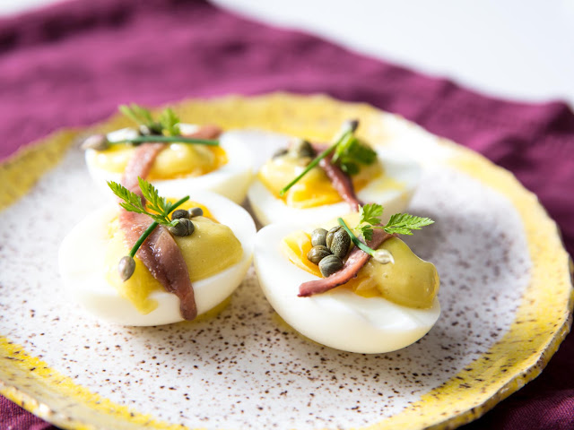 Deconstructed Deviled Eggs With Mayonnaise, Anchovies, and Capers Recipe