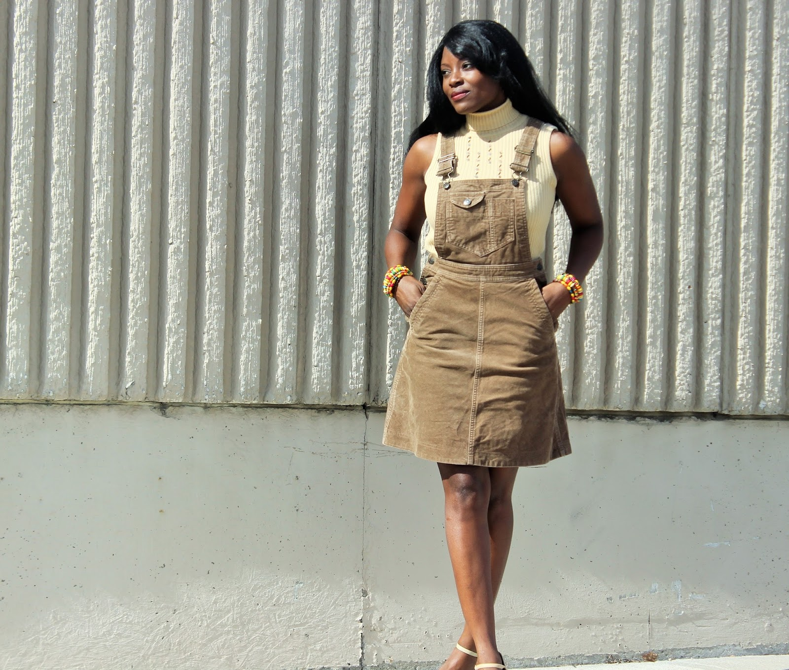 H&M Overall Dress styled with Spring Heels