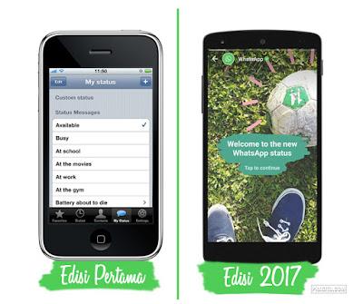 Tampilan UI Whatsapp Edisi Pertama dan Sekarang (2017)