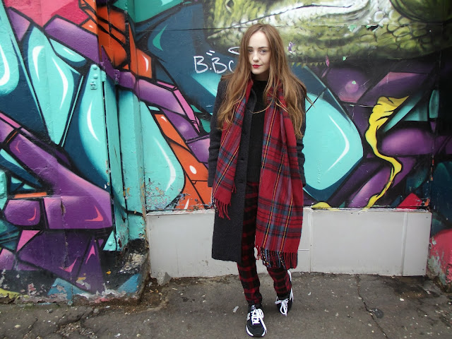 tartan scarf, tartan trousers, graffiti liverpool, bold street, boucle long coat