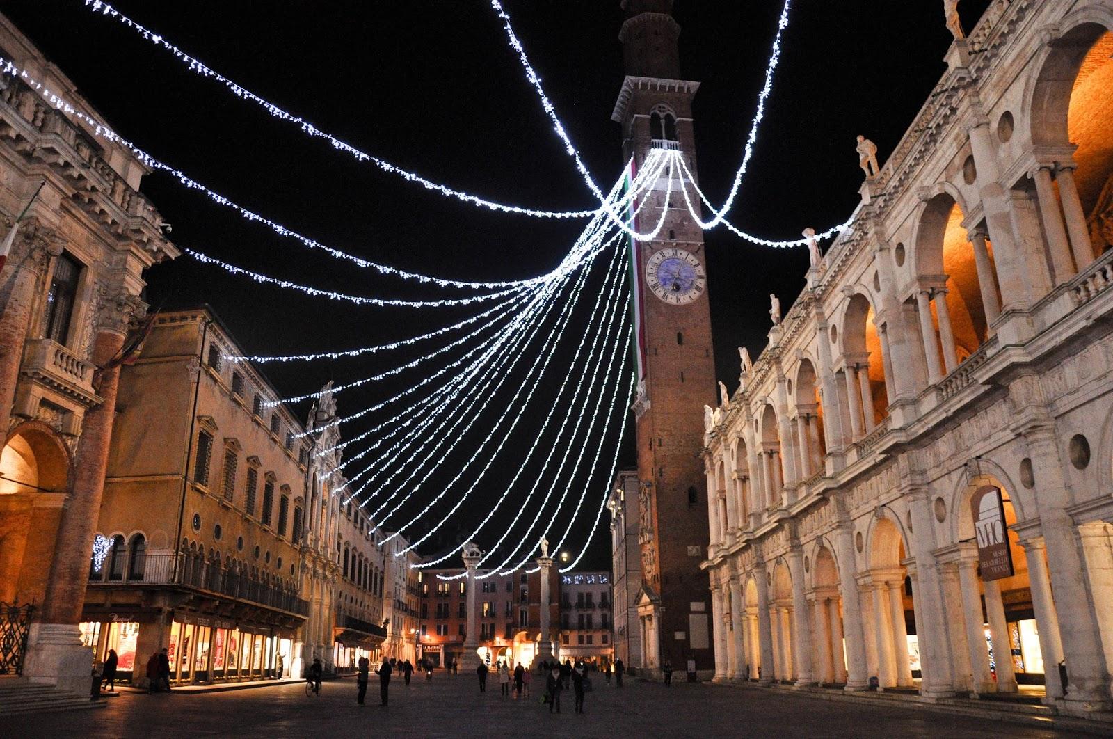 the christmas decorations at piazza dei signori vicenza veneto italy