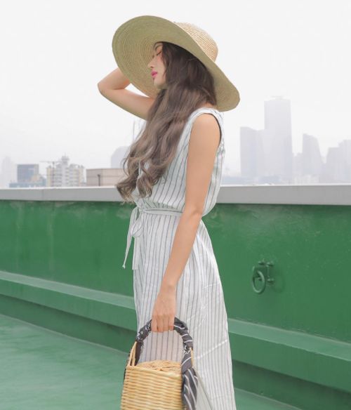 Striped Buttoned Front Sleeveless Dress