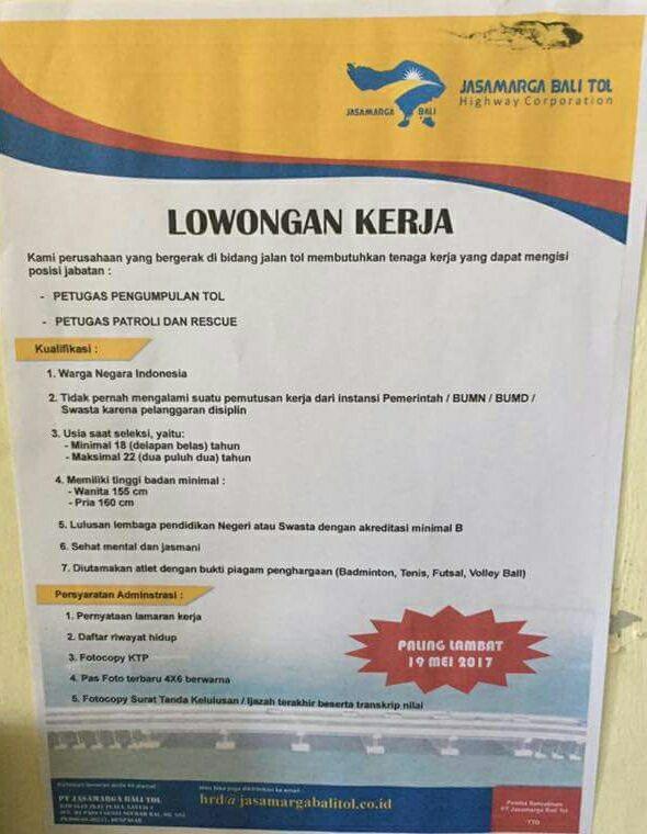 Lowongan Kerja Jasamarga Bali Tol