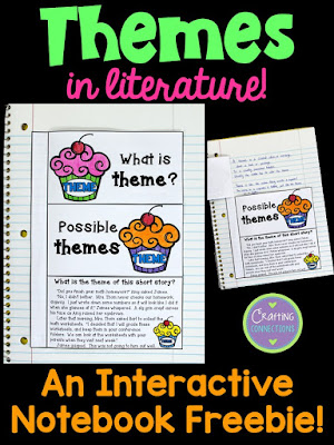 FREEBIE for teaching about themes in literature! Students can glue this foldable into interactive notebooks and refer to it as needed!