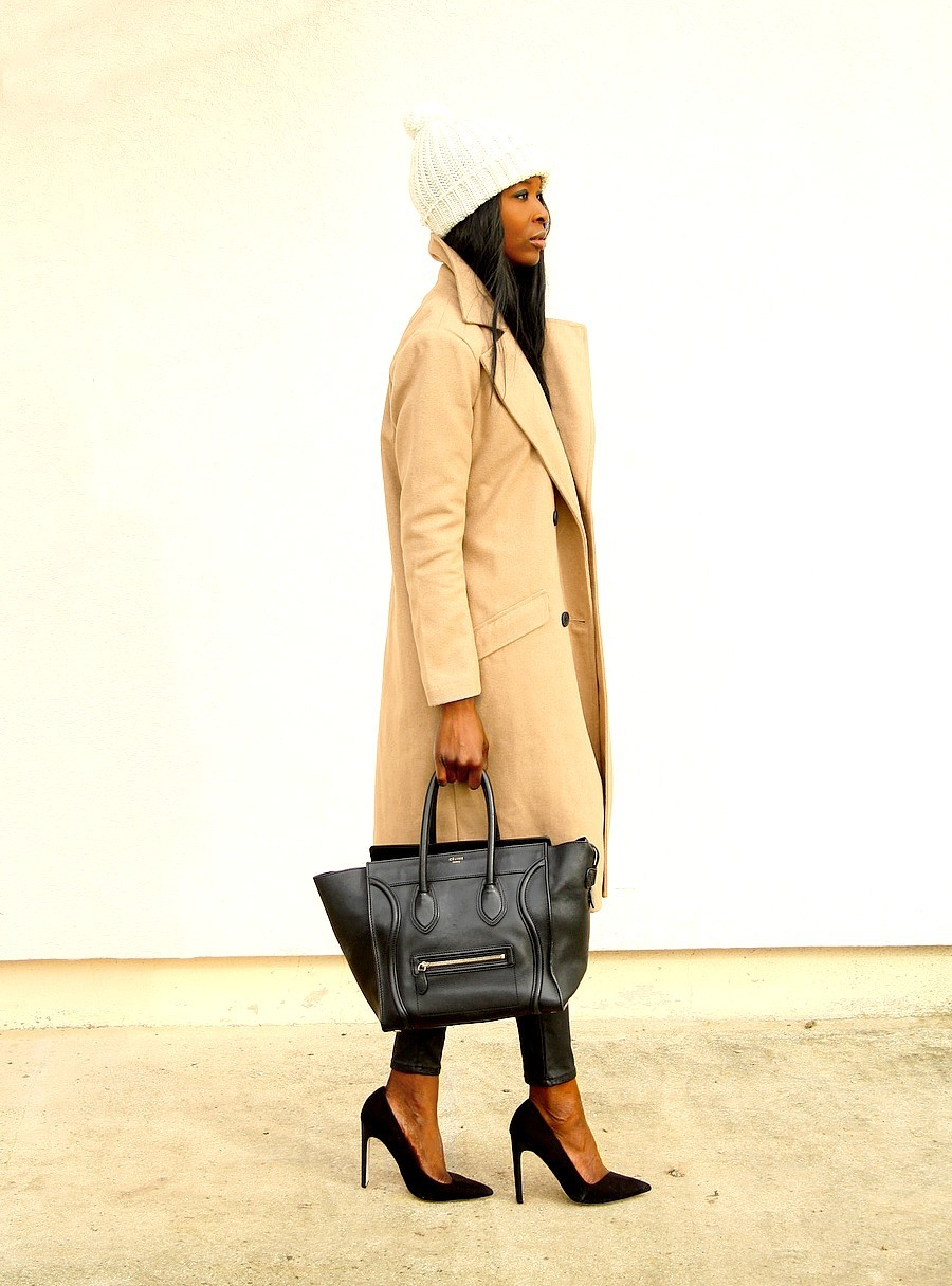 blog-mode-sac-celine-mini-luggage-manteau-camel-legging-cuir-escarpins-asos-bonnet-beige