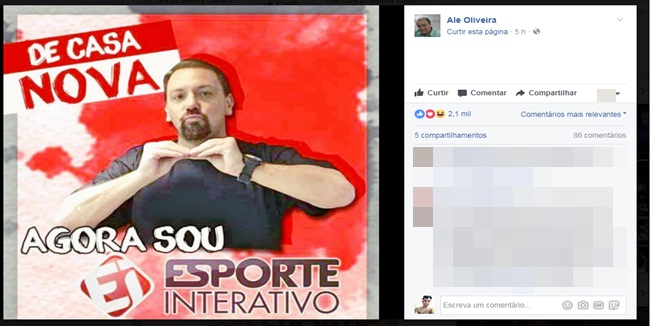 Alê Oliveira acerta com Esporte Interativo e vai participar dos principais programas do canal