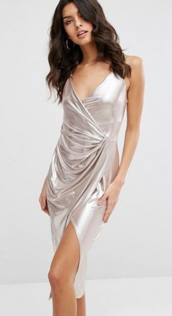 River Island Metallic Wrap Dress