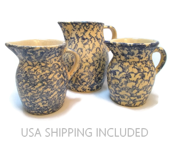 Robinson-Ransbottom Trio of Spongeware Pitchers
