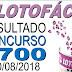 Resultado da Lotofácil concurso 1700 (10/08/2018)