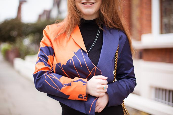 Katrina Wilson Cropped Orange and Navy Tux