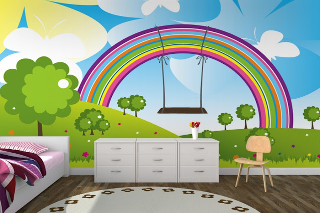 Rainbow Wall Mural Baby Room