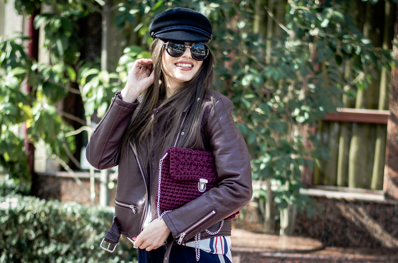 fashion blogger diyorasnotes sport chic outfit leather jacket crochet bag