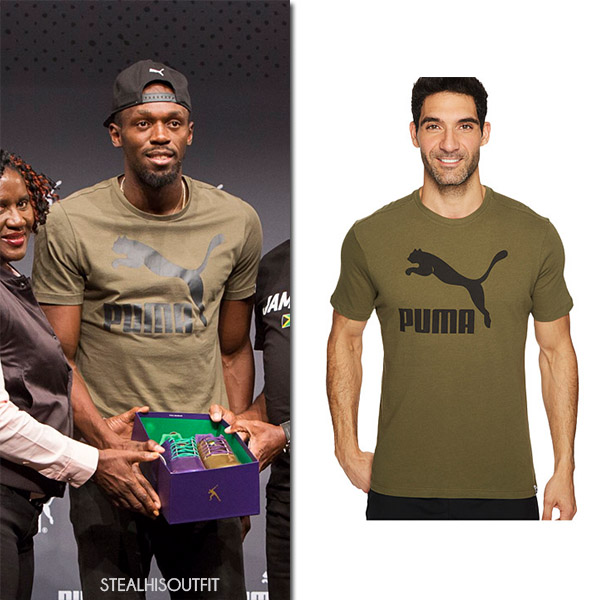 Usain Bolt in khaki green Puma t-shirt at IAAF Press Conference august 1 2017 mens sport fashion