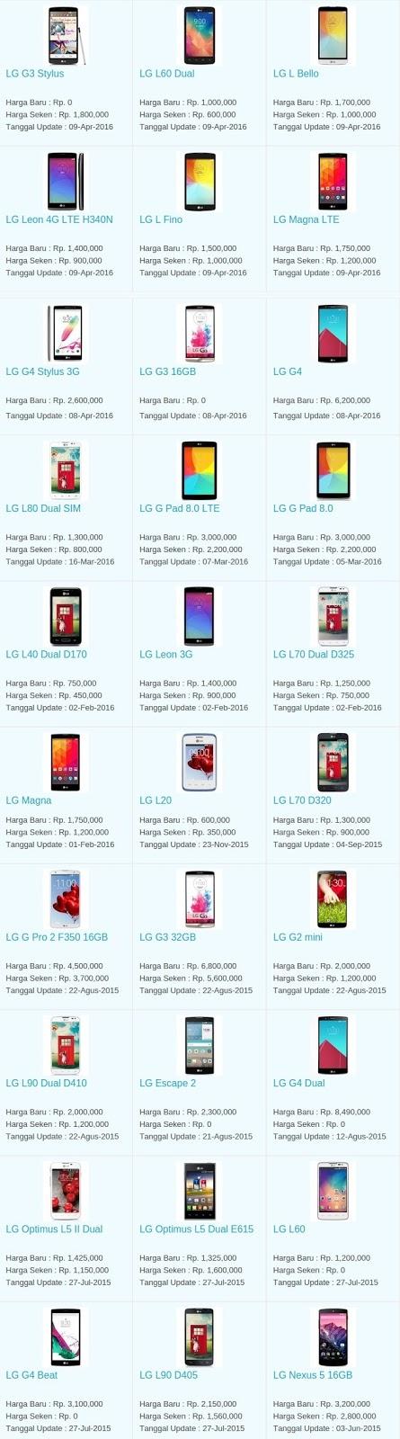 Daftar Harga Hp Terbaru LG Mei 2016