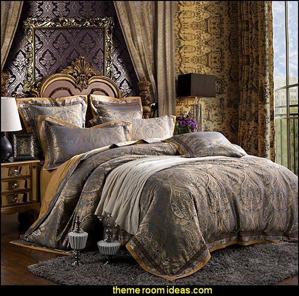 grey gold luxury silk Jacquard Floral designer's bedding