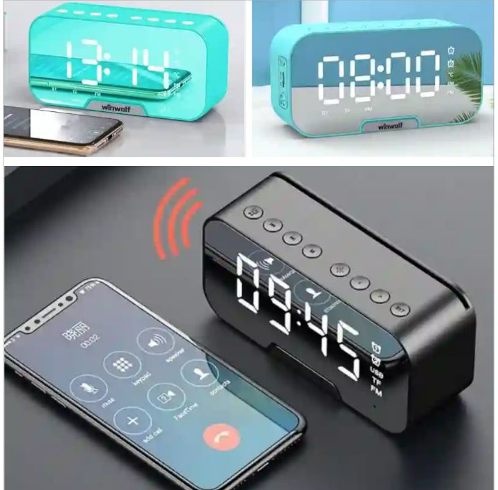Winwolf Bluetooth Speakers: Rechargeable Wireless G10 Speaker with FM Radio, Digital Clock, Alarm and Temperature Display