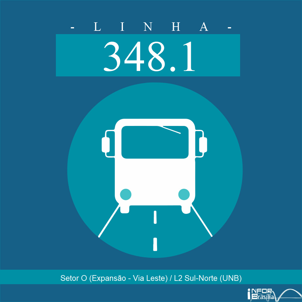 """Horário e Itinerário 348.1 - Setor """"O"""" (Expansão-Via Leste)/L2 Sul-Norte (UnB)"""