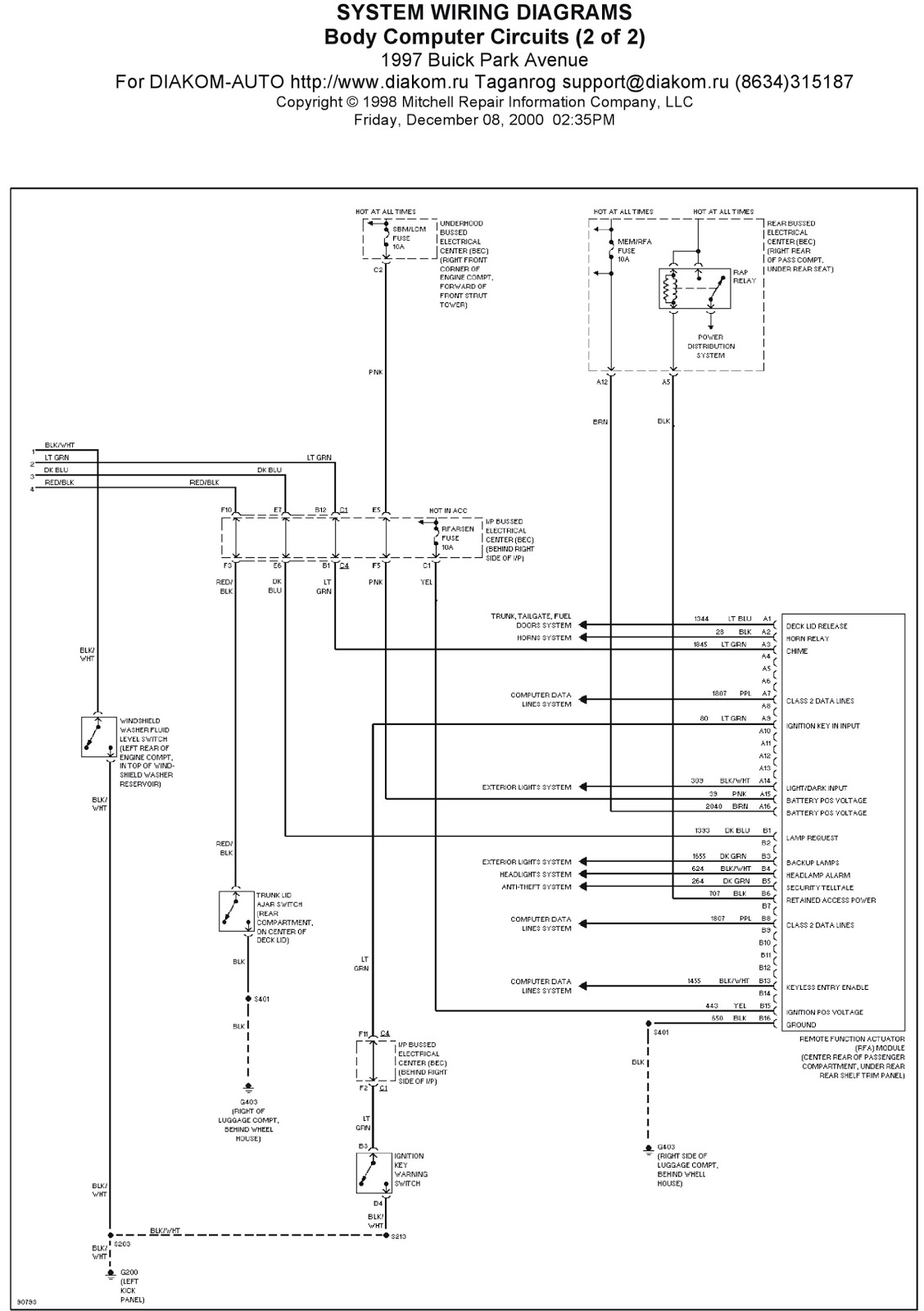 1997 Buick Park Avenue System Wiring Diagrams Body