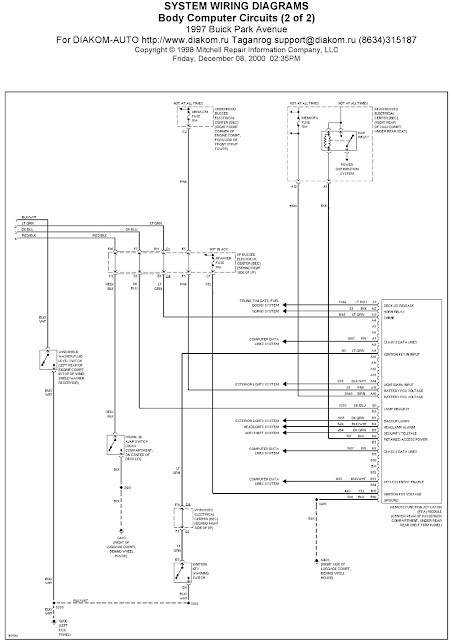 1997 Buick Park Avenue System Wiring Diagrams Body