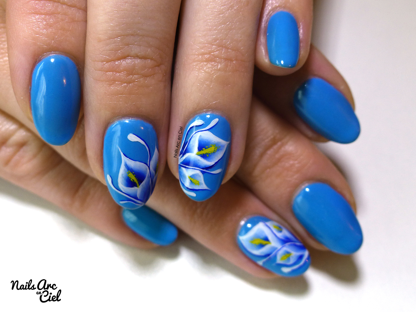 Nails arc en ciel nail art arums bleus en one stroke - Nail art debutant ...