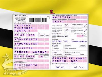Kartu Kedatangan (Arrival Card) Brunei Darussalam