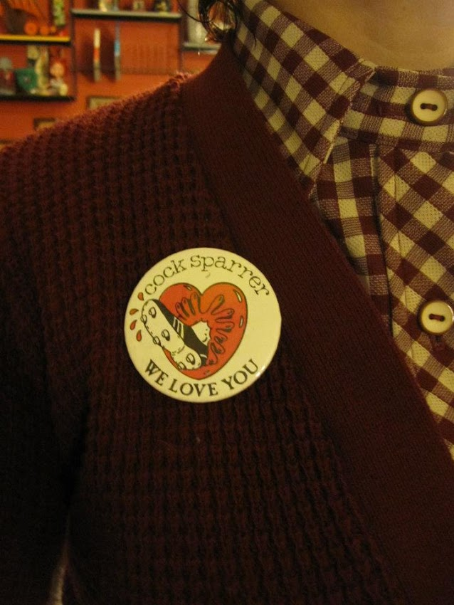 oh yes cock sparrer we love you badge pinback button oi! glam punk