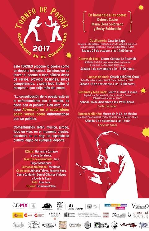 CONVOCATORIA En puerta el X Torneo de Poesía Adversario en el cuadrilátero 2017, convoca Editorial VersoDestierro