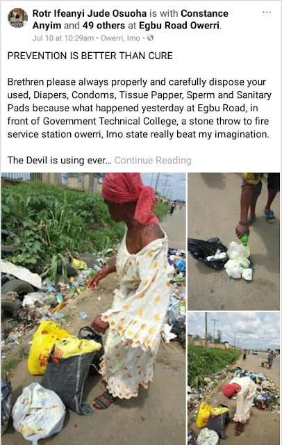 Woman caught picking used sanitary pads, diapers at waste bin in Owerri