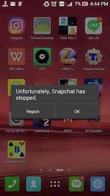 Cara Mengatasi Unfortunately Snapchat Has Stooped (Error) di Android