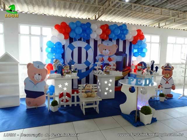 Decoração para a mesa do bolo de aniversário tema Ursinho Marinheiro - Festa de aniversário de 1 ano ou chá de bebê - Barra - RJ