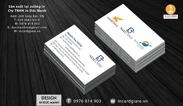 Mẫu card visit doanh nghiệp Bất Động Sản NVHLAN