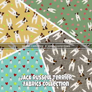 A collection of cute Jack Russell patterned fabrics from katzdzynes