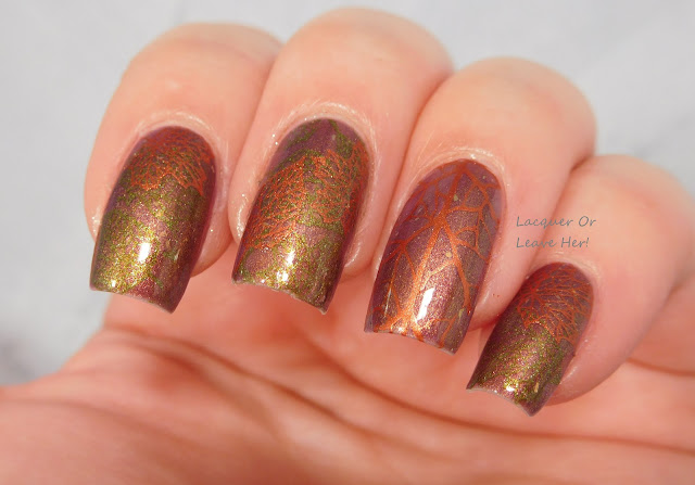 The Lady Varnishes Destiny + UberChic Beauty Lovely Leaves, s/w Hit The Bottle Polish Copper-Haired Girl and Sally Hansen No S-Pear Time