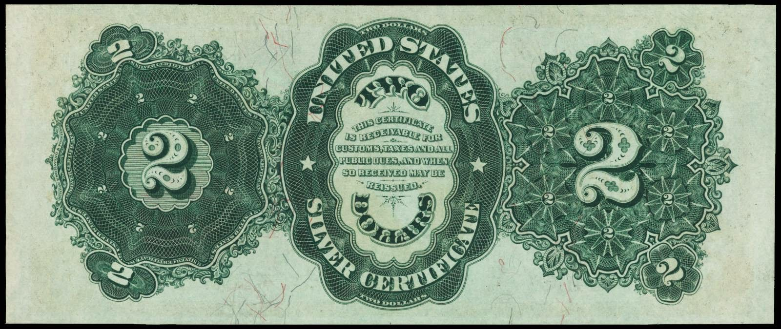 American money 1891 Two Dollars Silver Certificates