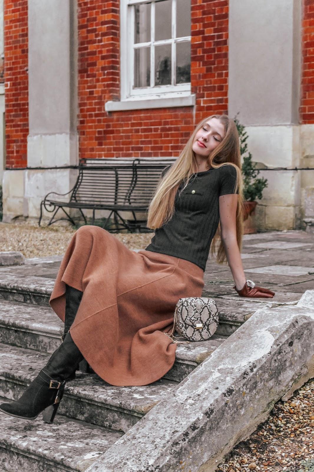 Zara Camel Minimal Knitted Midi Skirt