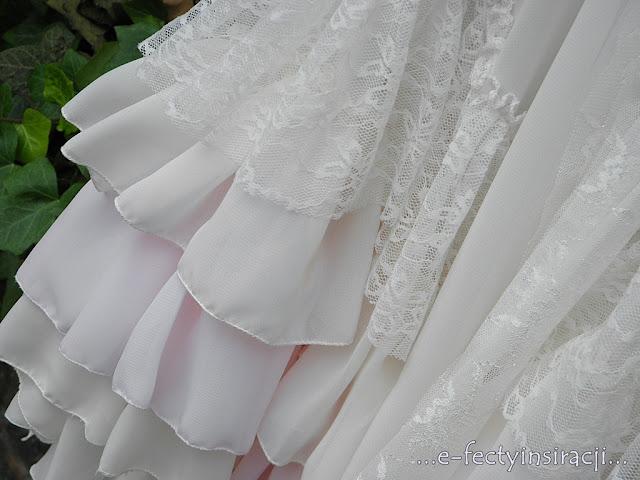 e-fectyinspiracji sukienka dla małej księżniczki, szyfon, koronki, brosza jak zrobić różę ze wstążki spódnica z koła z falbanami jak uszyć?
