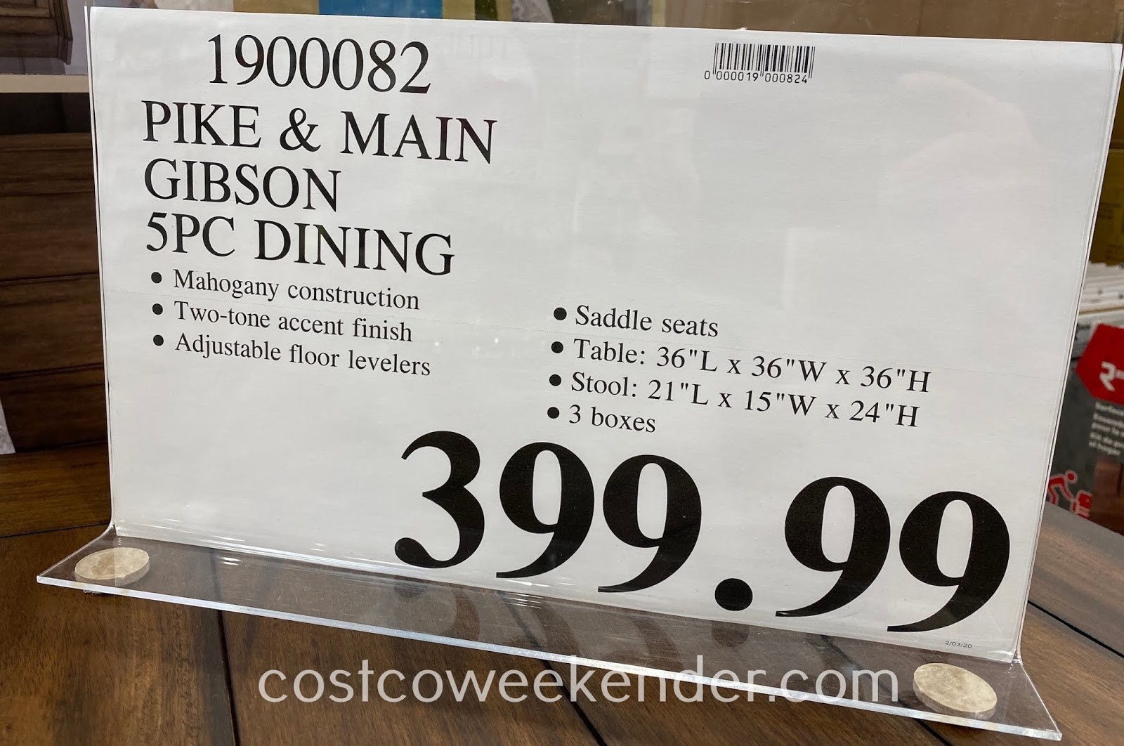Deal for the Pike & Main Gibson 5-piece Counter Height Dining Set at Costco