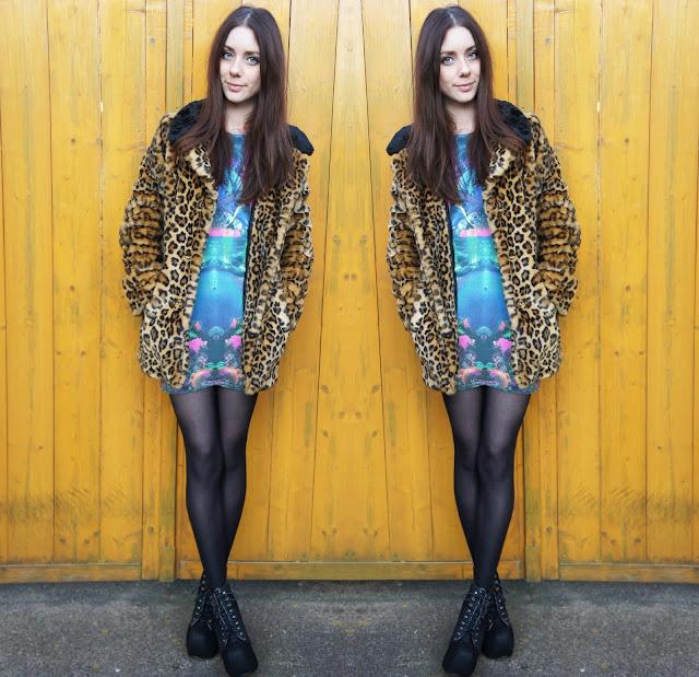 Motel Rocks Mirror Island Print Dress and a Leopard Print Coat