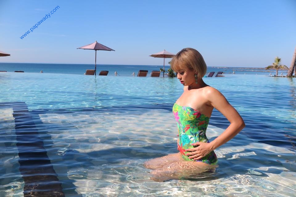 Shwe Mhone Yati Relaxing At The Beach And Revealing Her Beauty Wearing Swimming Suit