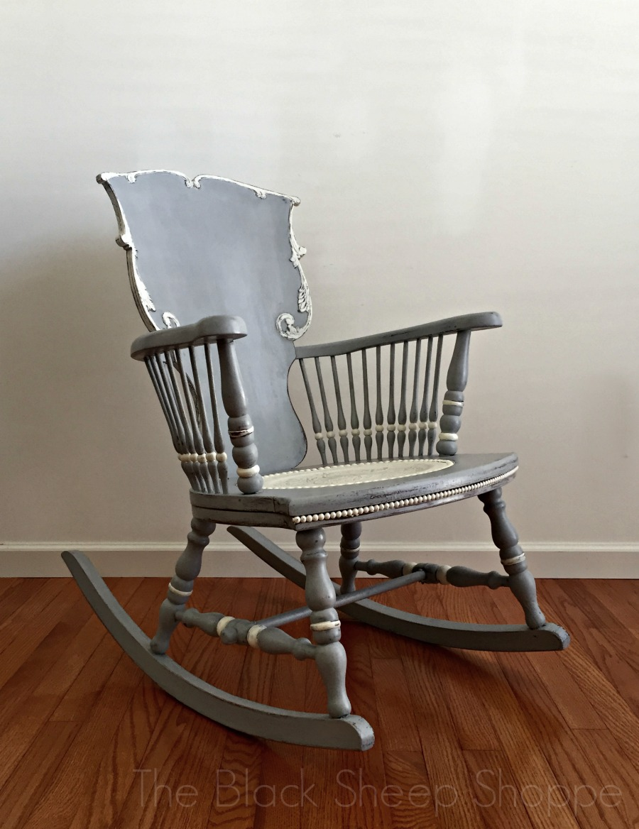 Antique rocking chair painted in Paris Grey and Old White
