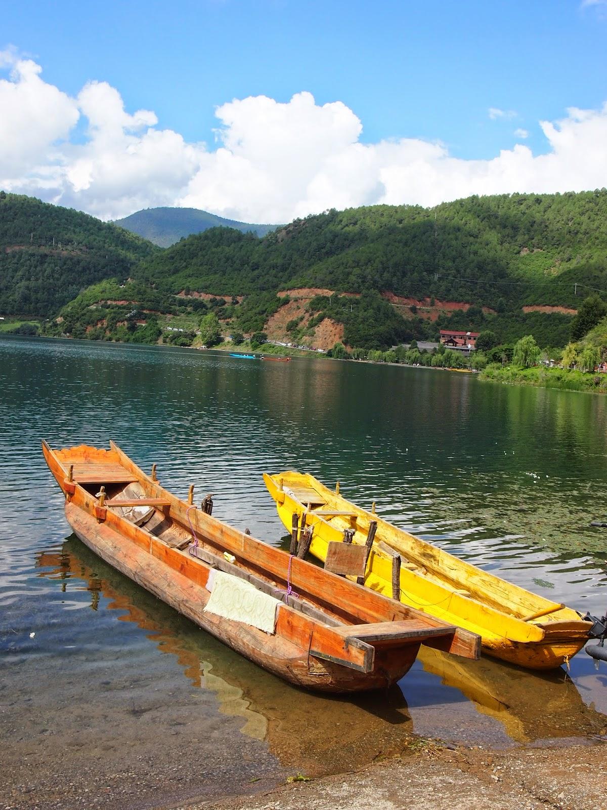 Mosuo boats in Lugu Lake